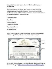Gift form to accompany a new stock certificate