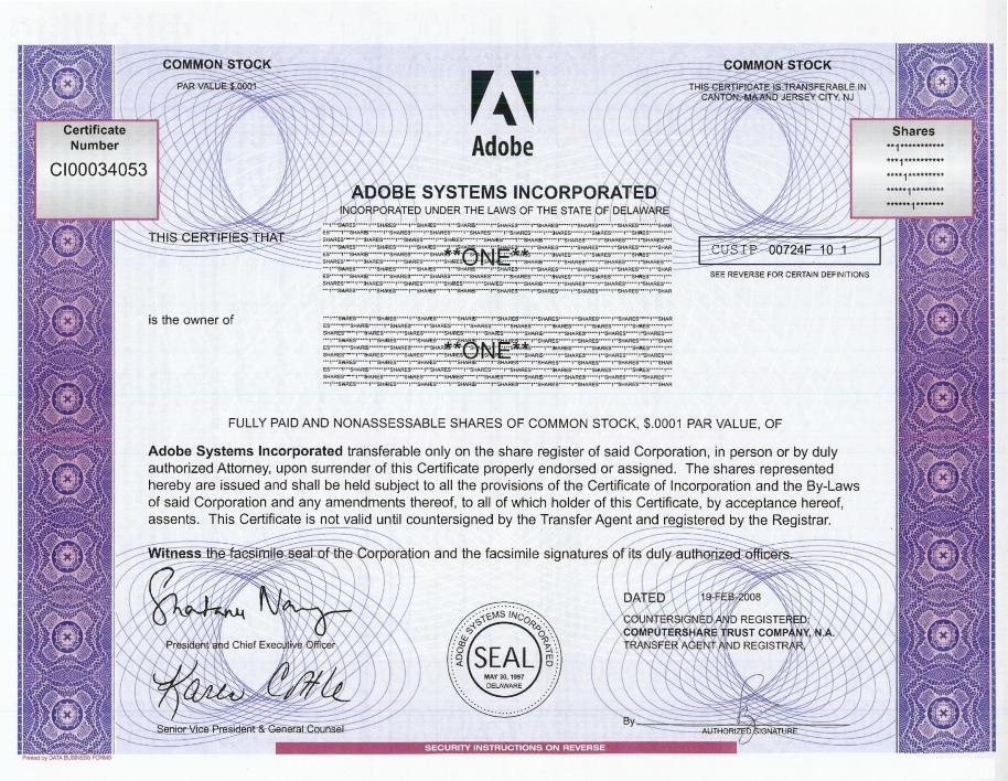Adobe Stock Certificate