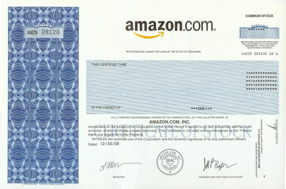 Amazon Stock Certificate