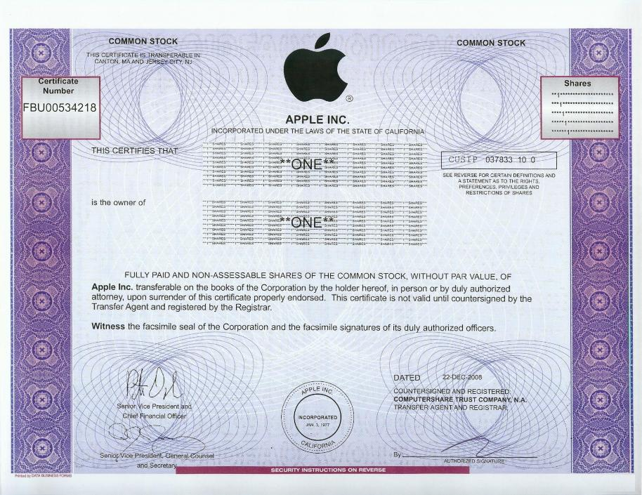 Apple stock certificate for Share certificate template companies house