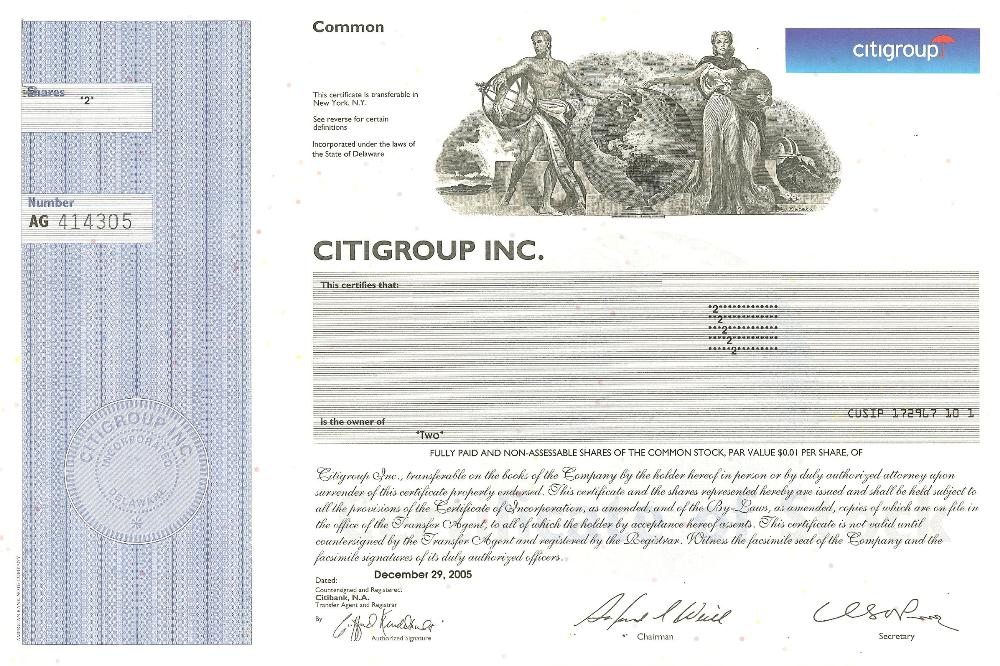 Citigroup Stock Certificate