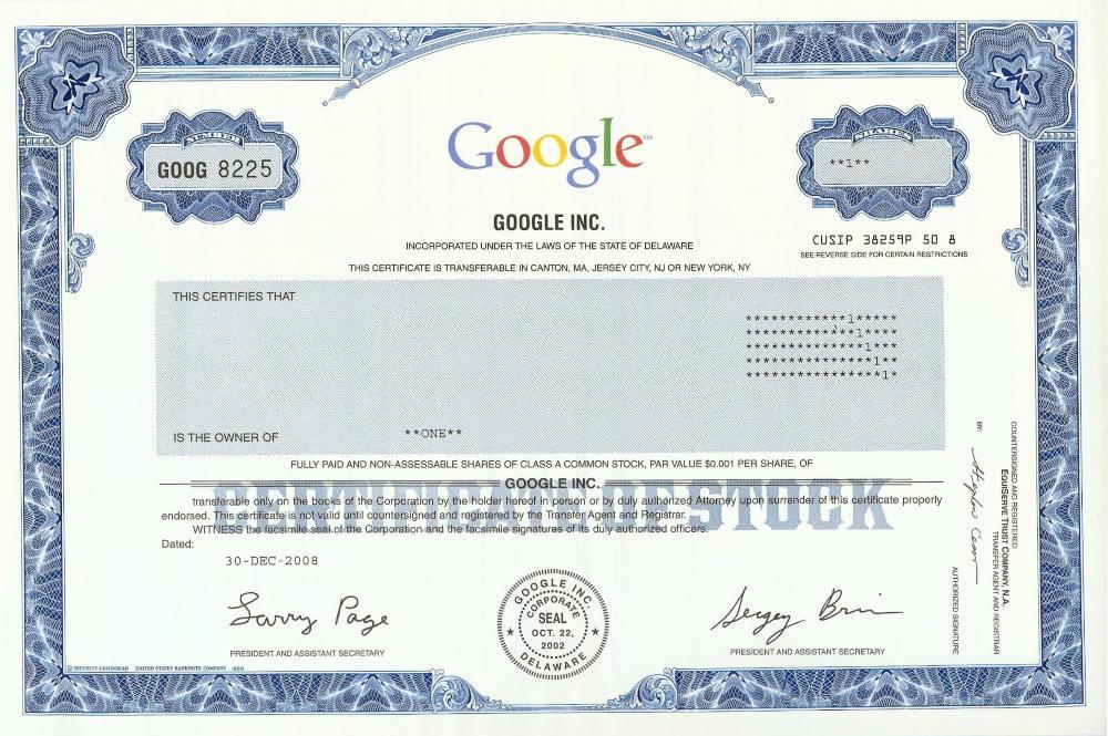Google Stock Certificate