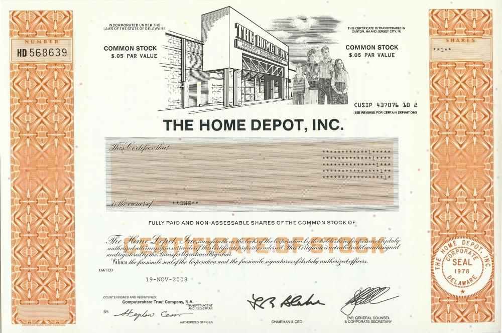 home depot stock certificate. Black Bedroom Furniture Sets. Home Design Ideas