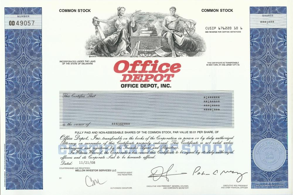 office depot stock certificate. Black Bedroom Furniture Sets. Home Design Ideas