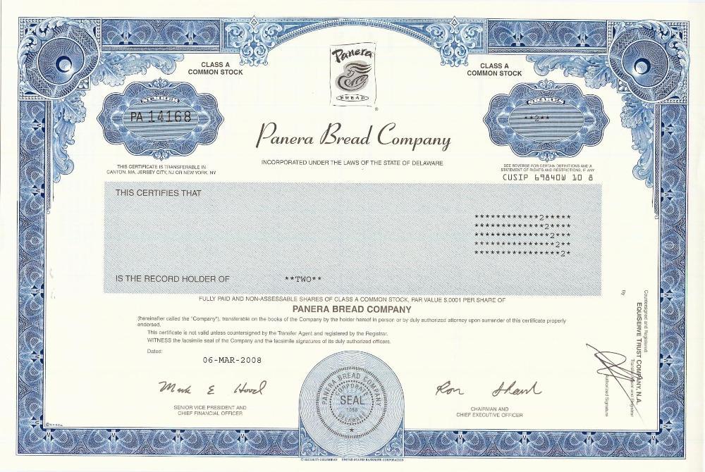 Panera Bread Stock Certificate