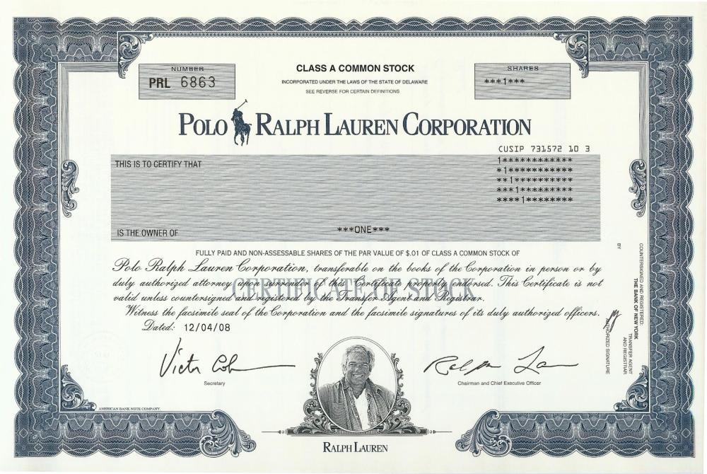 Ralph Polo Lauren 354lrjqca Stock Certificate 6vgYf7bIy