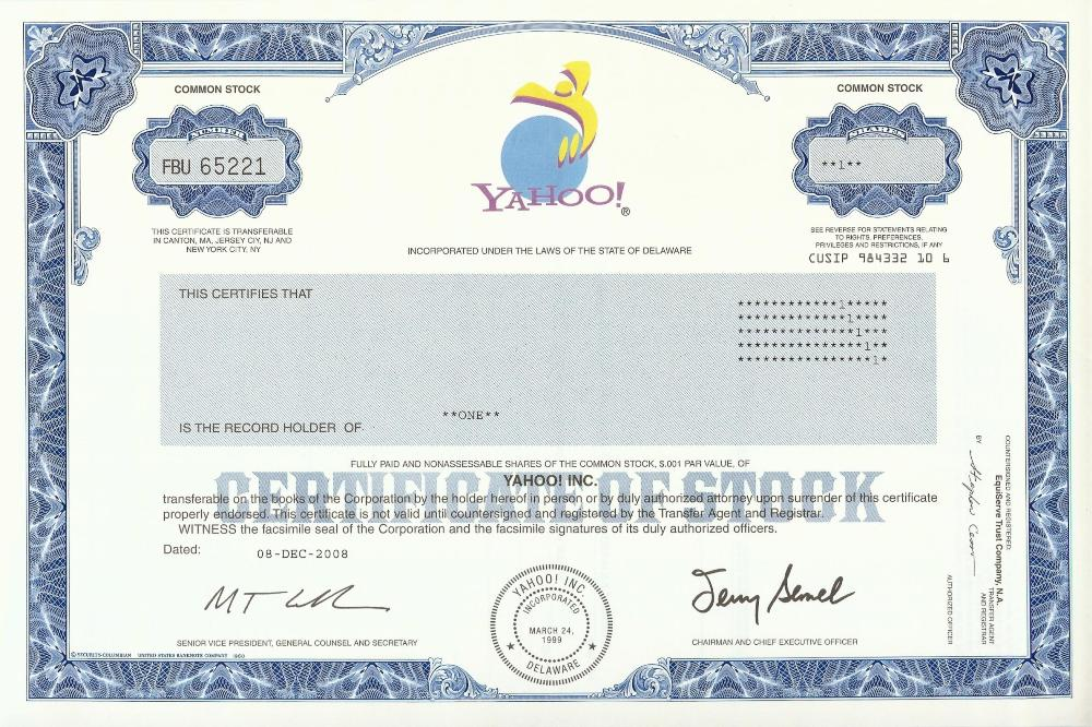 Yahoo Stock Certificate