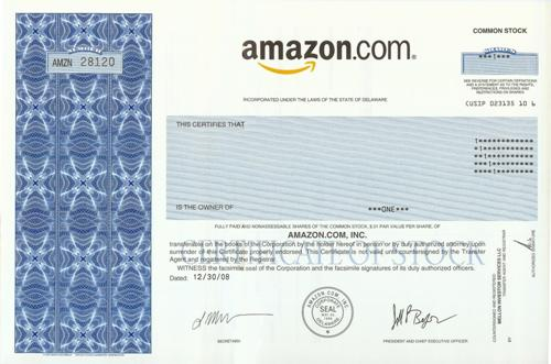 Amazon.com Stock Certificate