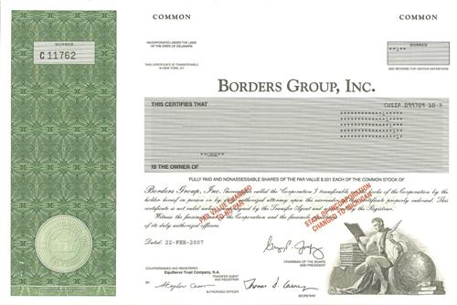 Borders Group Stock Certificate