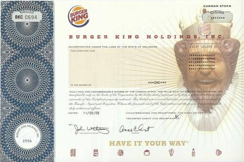 Burger King Stock Certificate