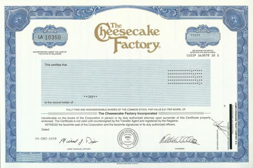 Cheesecake Factory Stock Certificate