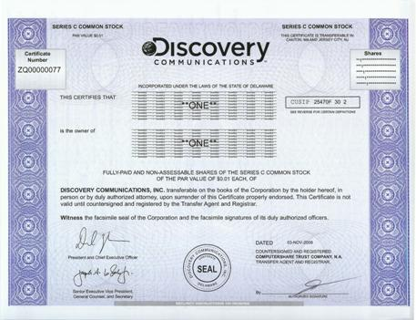 Discovery Communications Stock Certificate