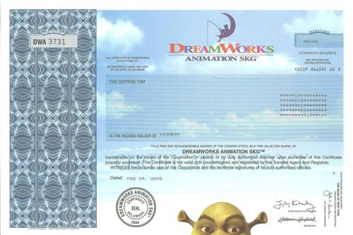 DreamWorks Animation Stock Certificate
