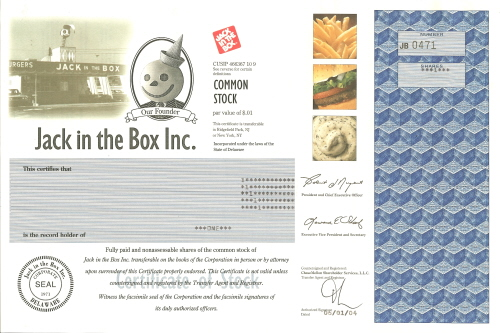 Jack in the Box Stock Certificate