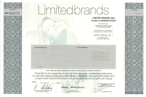 Limited Brands Stock Certificate