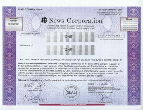 News Corporation Stock Certificate