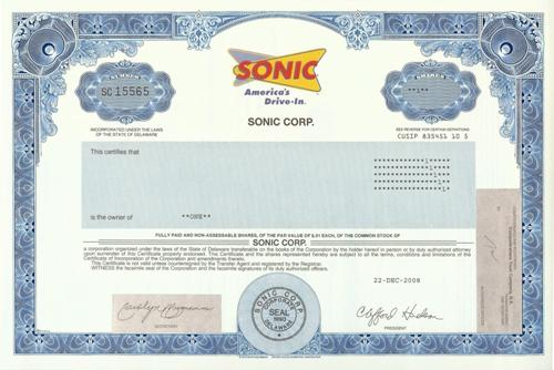 Sonic Stock Certificate