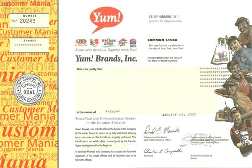 Yum Brands Stock Certificate